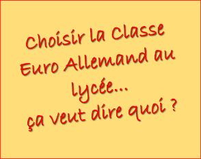 Choisir la classe Euro Allemand au lycée… ça veut dire quoi ?