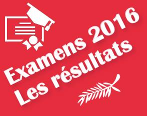 Résultats aux examens 2016