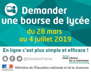Bourses nationales des lycées 2019-2020
