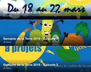 Les trois épisodes du storify de la Semaine de la Terre 2019