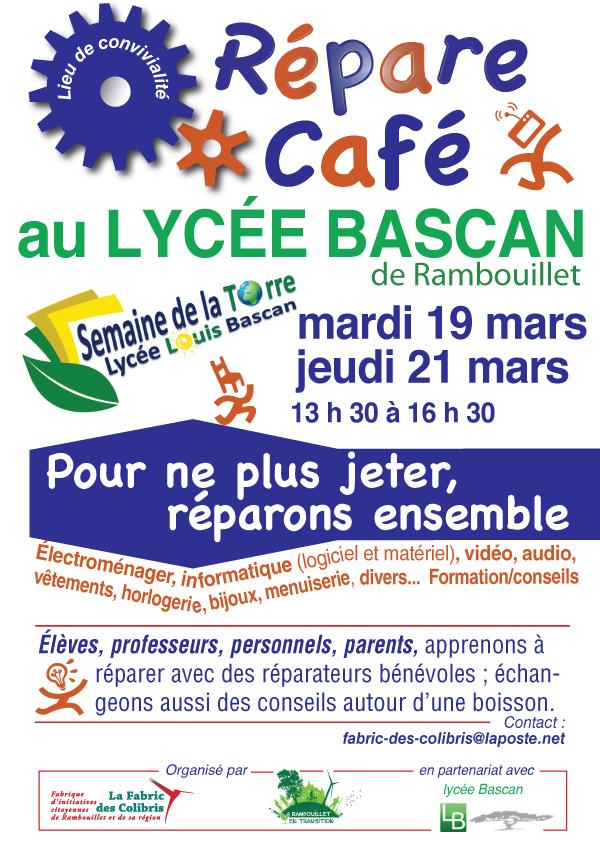 Affiche « Répare Café » au lycée Louis-Bascan