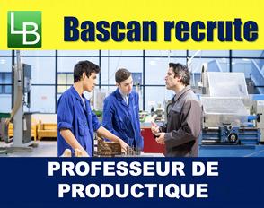 Bascan recrute un professeur de Productique