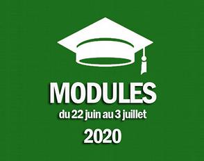 Modules du 22 juin au 3 juillet 2020