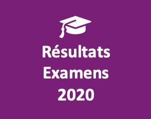 Résultats aux examens 2020