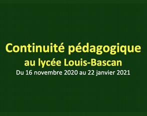 Continuité pédagogique : message du 28.11.2020