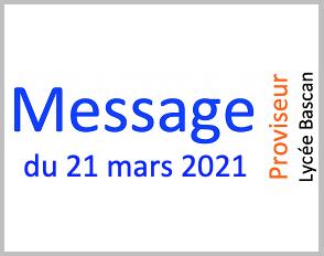 Message du 21.03.2021