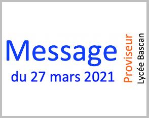 Message du 27.03.2021