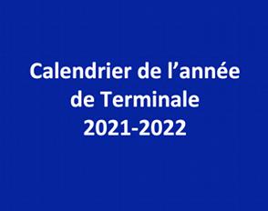 Calendrier de l'année de Terminale 2021-2022